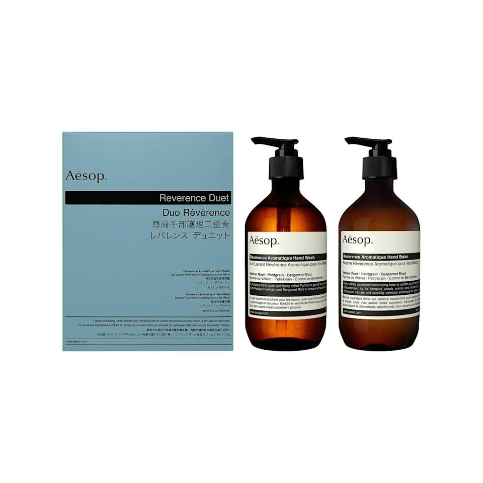 """Elevate their bathroom to celebrity status with Aesop's spalike handwash and balm. It's the gift set they'd never buy for themselves. $125, Nordstrom. <a href=""""https://www.nordstrom.com/s/aesop-reverence-hand-wash-hand-balm-duet/4364414?"""" rel=""""nofollow noopener"""" target=""""_blank"""" data-ylk=""""slk:Get it now!"""" class=""""link rapid-noclick-resp"""">Get it now!</a>"""
