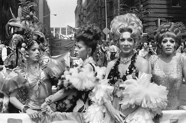 Drag queens of STAR, the Street Transvestite Action Revolutionaries, during the fourth annual Gay Pride Day March in New York City, June 24, 1973. (Photo: Fred W. McDarrah/Getty Images)