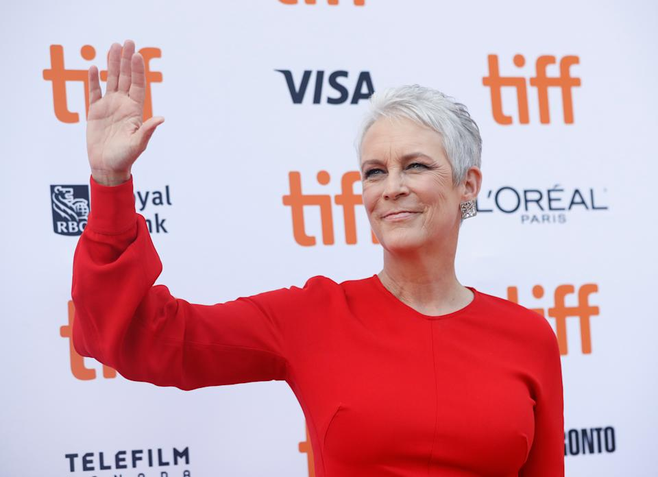 """Cast member Jamie Lee Curtis arrives for the special presentation of """"Knives Out"""" at the Toronto International Film Festival (TIFF) in Toronto, Ontario, Canada September 7, 2019. REUTERS/Mario Anzuoni"""