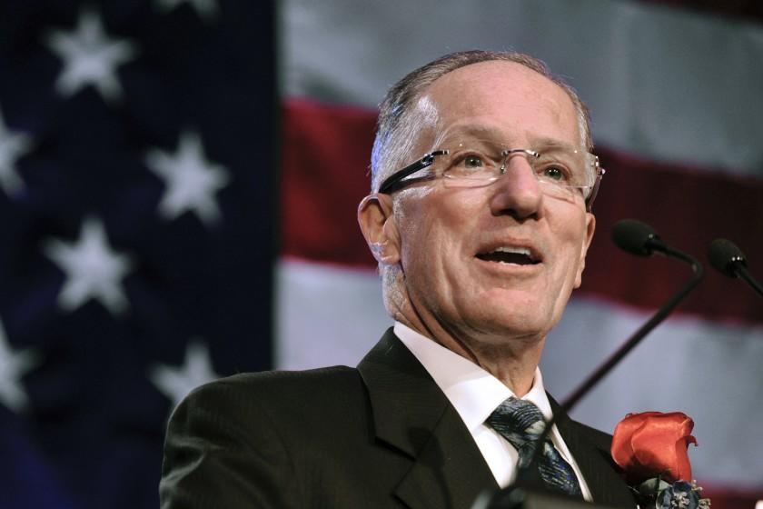 FILE - In this Dec. 12, 2011, file photo, Mike Emrick speaks after being inducted into the U.S. Hockey Hall of Fame.