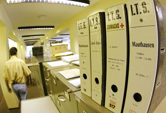 Picture taken 28 July 2006 shows files with the names of death camps in a department of the International Tracing Service (ITS), an arm of the International Committee of the Red Cross, based in Bad Arolsen. (MARTIN OESER/AFP/Getty Images)