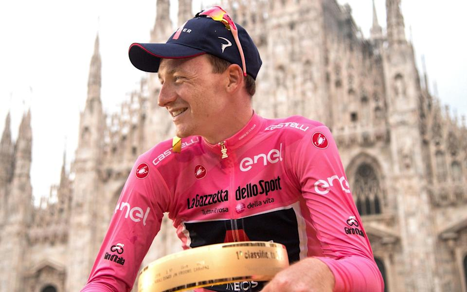 Tao Geoghegan Hart reflects on his surprise success outside Milan's famous cathedral where the final-stage time trail ended - SHUTTERSTOCK