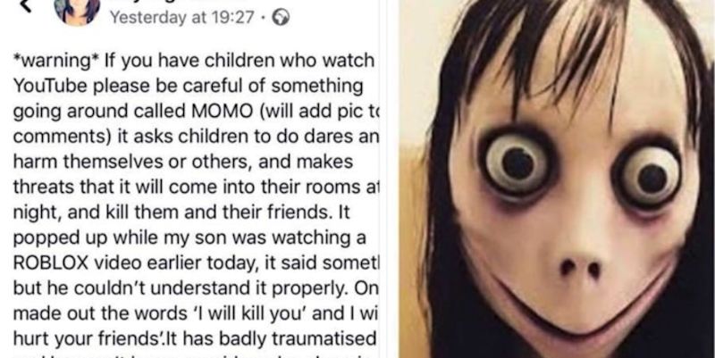 When Did Parents Get So Scared >> The Viral And Frightening Momo Challenge Is Taking Over Youtube