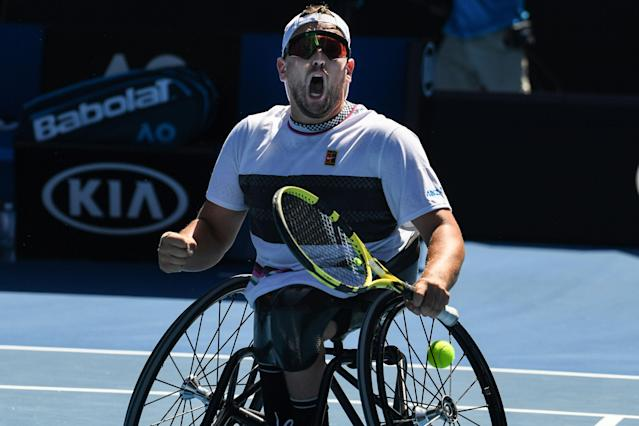 Australia's Dylan Alcott publicly lobbied for the US Open to reconsider canceling the wheelchair tournament. (Greg Wood / AFP via Getty Images)