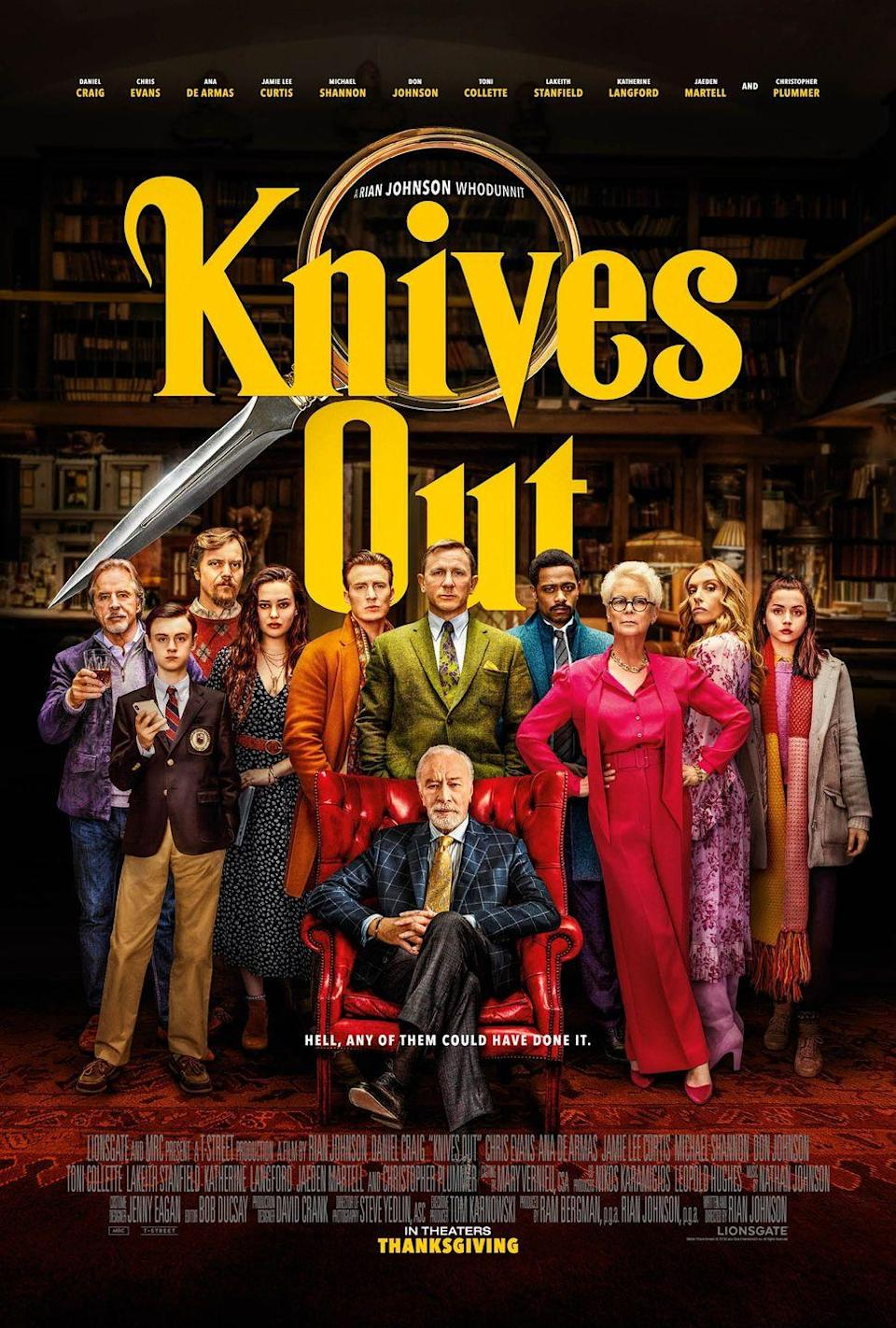 "<p>How could we forget one of the best modern murder mystery films in recent years? This 2019 blockbuster hit puts a modern spin on the classic murder mystery genre, featuring an all-star ensemble cast alongside a truly riveting plot involving an investigation of a family patriarch's death. </p><p><a class=""link rapid-noclick-resp"" href=""https://www.amazon.com/Knives-Out-Ana-Armas/dp/B081W544J7?tag=syn-yahoo-20&ascsubtag=%5Bartid%7C10055.g.34396232%5Bsrc%7Cyahoo-us"" rel=""nofollow noopener"" target=""_blank"" data-ylk=""slk:WATCH ON AMAZON"">WATCH ON AMAZON</a></p>"