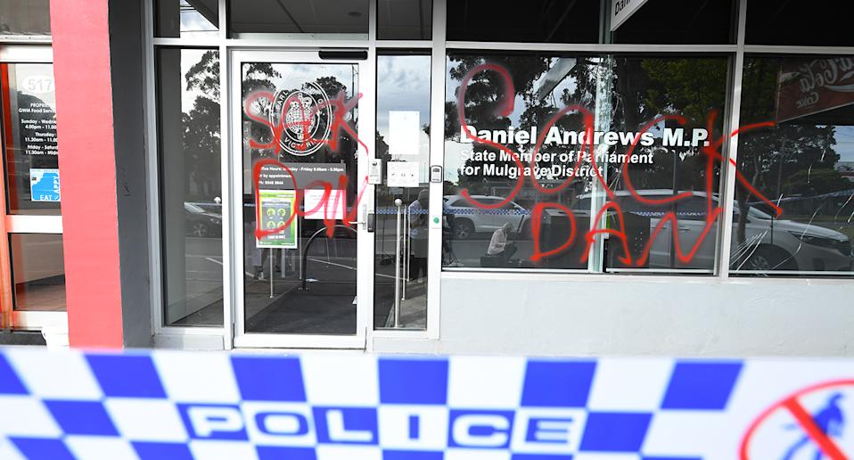 The Victorian Premier's office has been vandalised overnight and a crime scene has been established.