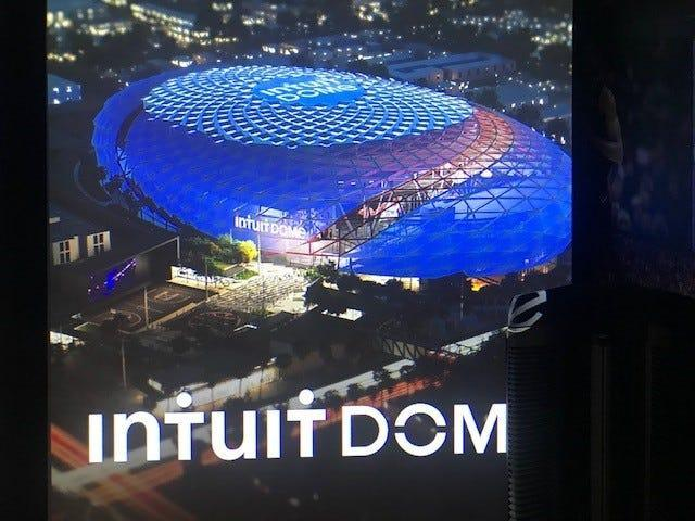 Renderings of the Intuit Dome, the Los Angeles Clippers' future home.