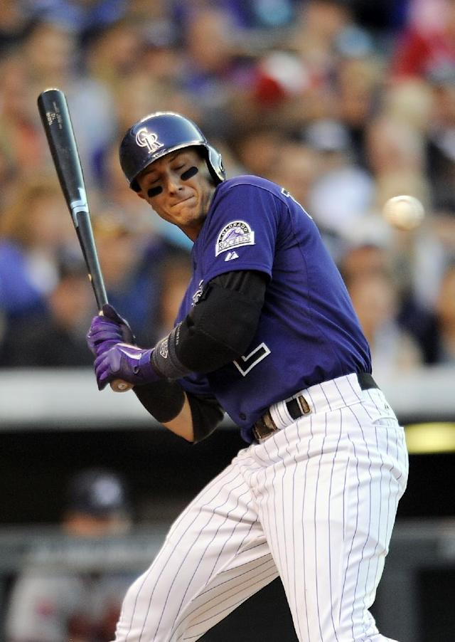 Colorado Rockies Troy Tulowitzki is brushed back by a pitch in the fourth inning of a baseball game against the Atlanta Braves on Monday, June 9, 2014, in Denver. (AP Photo/Chris Schneider)