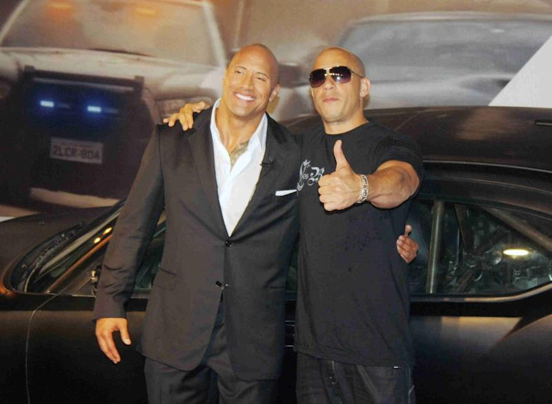 Johnson & Diesel at a 2011 'Fast 5' premiere (credit: WENN)