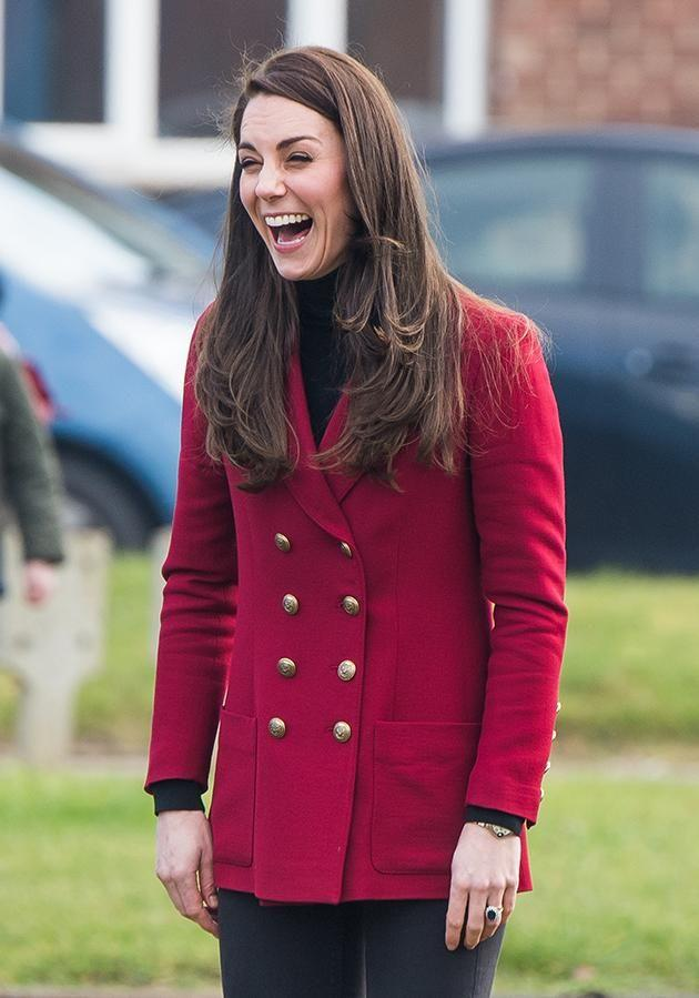 Despite not spending the day with her husband, the Duchess looked to be having a blast. Photo: Getty