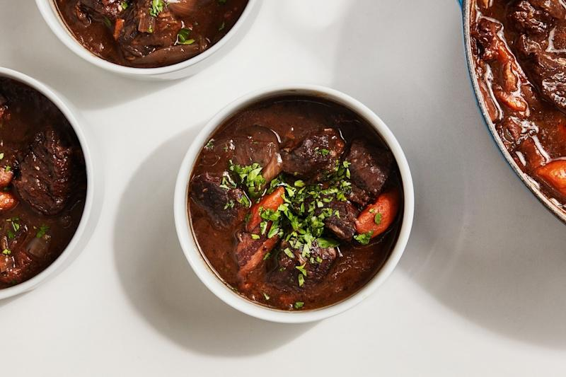 A little green goes a long way on Molly's beef and bacon stew.
