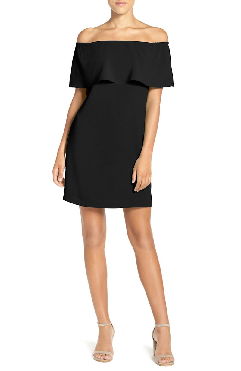 Charles Henry Off the Shoulder Dress in black.