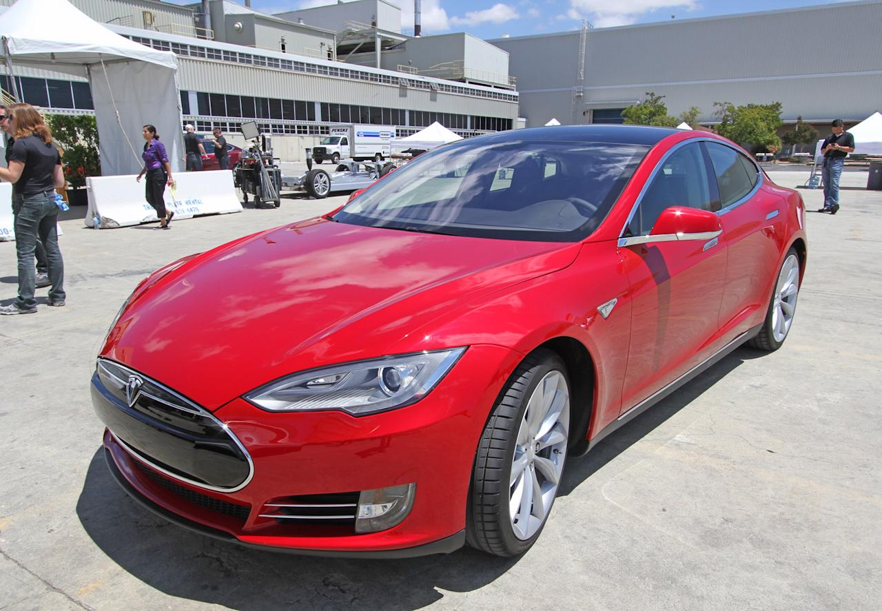 The Tesla Model S, introduced today at the company's Fremont, Calif. factory.