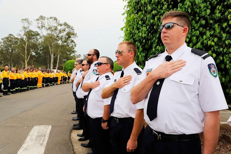 New South Wales Rural Fire Service officers at Andrew O'Dwyer's funeral | AP/Shutterstock