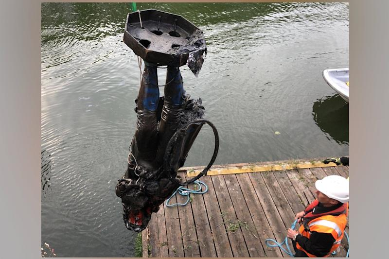 The statue of Edward Colston being taken out of the water (Bristol Council)