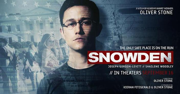 """The poster for Oliver Stone's """"Snowden."""""""