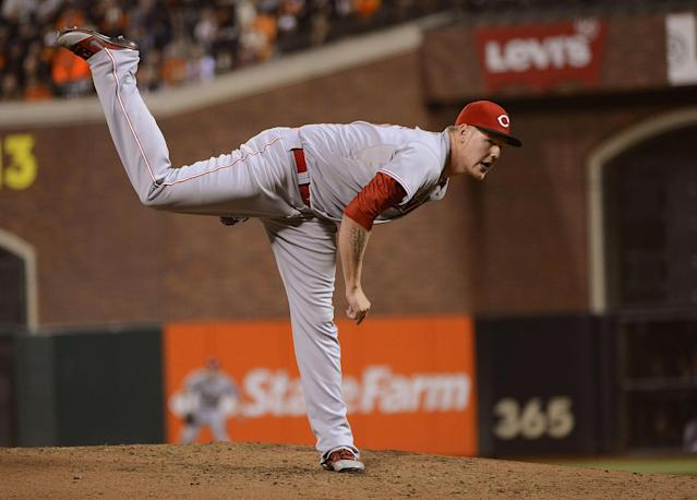 SAN FRANCISCO, CA - OCTOBER 06: Mat Latos #55 of the Cincinnati Reds pitches in the fourth inning against the San Francisco Giants in Game One of the National League Division Series at AT&T Park on October 6, 2012 in San Francisco, California. (Photo by Thearon W. Henderson/Getty Images)