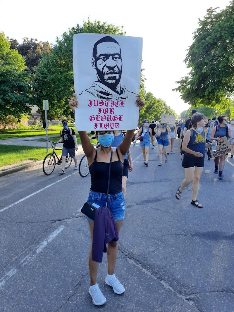 Andres Guzman's Instagram graphic became a poster at a Minneapolis protest.