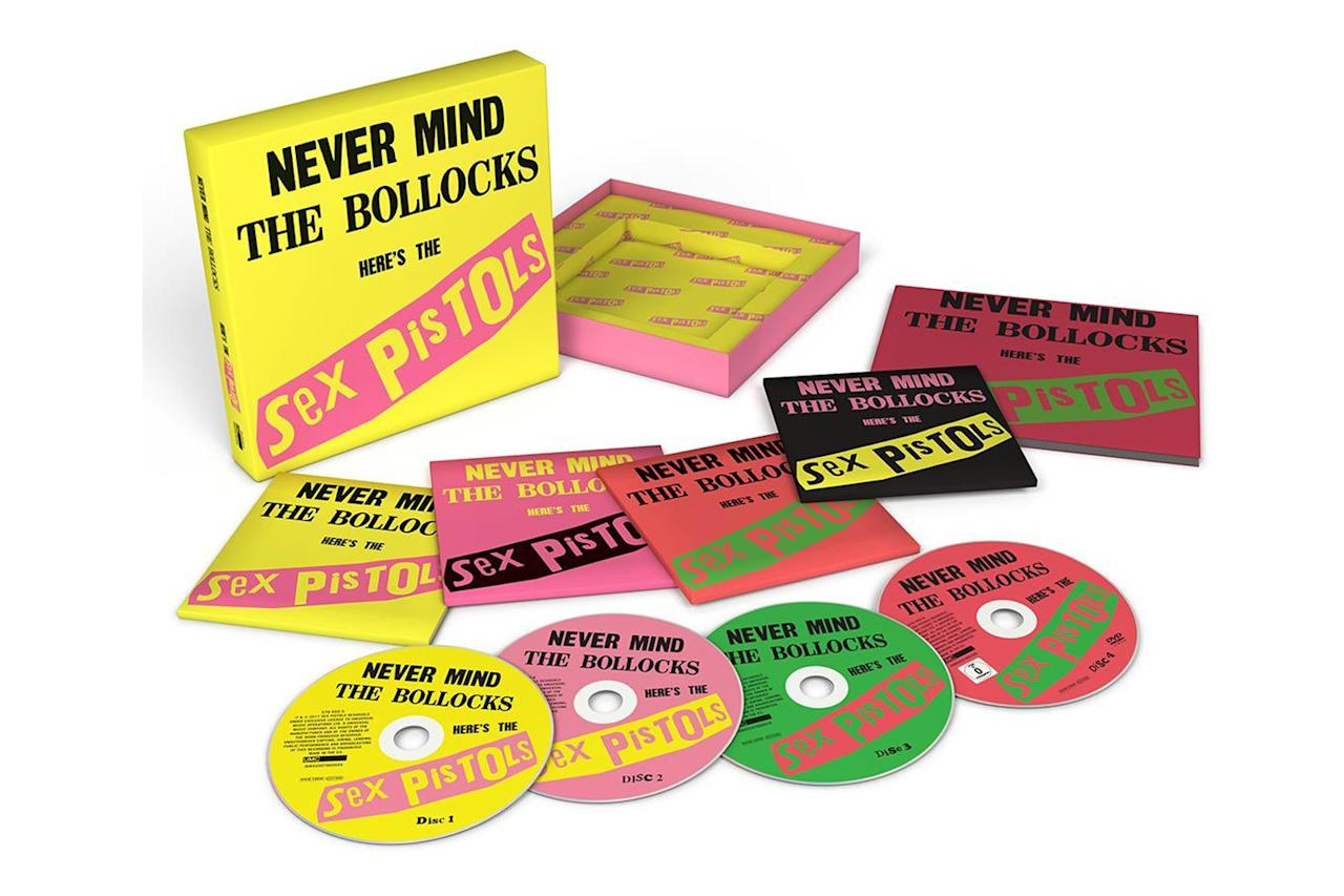 <p>The most famous punk album gets the deluxe reissue treatment again, as a three-CD, one-DVD set featuring the original album, a disc of outtakes, a disc of live material, and video of the band playing live at various locations, including their famed Silver Jubilee boat party on the River Thames. It's packaged with a 48-page booklet with liner notes from journalist Pat Gilbert and photos by Bob Gruen and others. The Pistols didn't release much material during their initial run, so fans will cherish the outtakes featured on this set. $51. (Photo: Warner Bros. Records) </p>