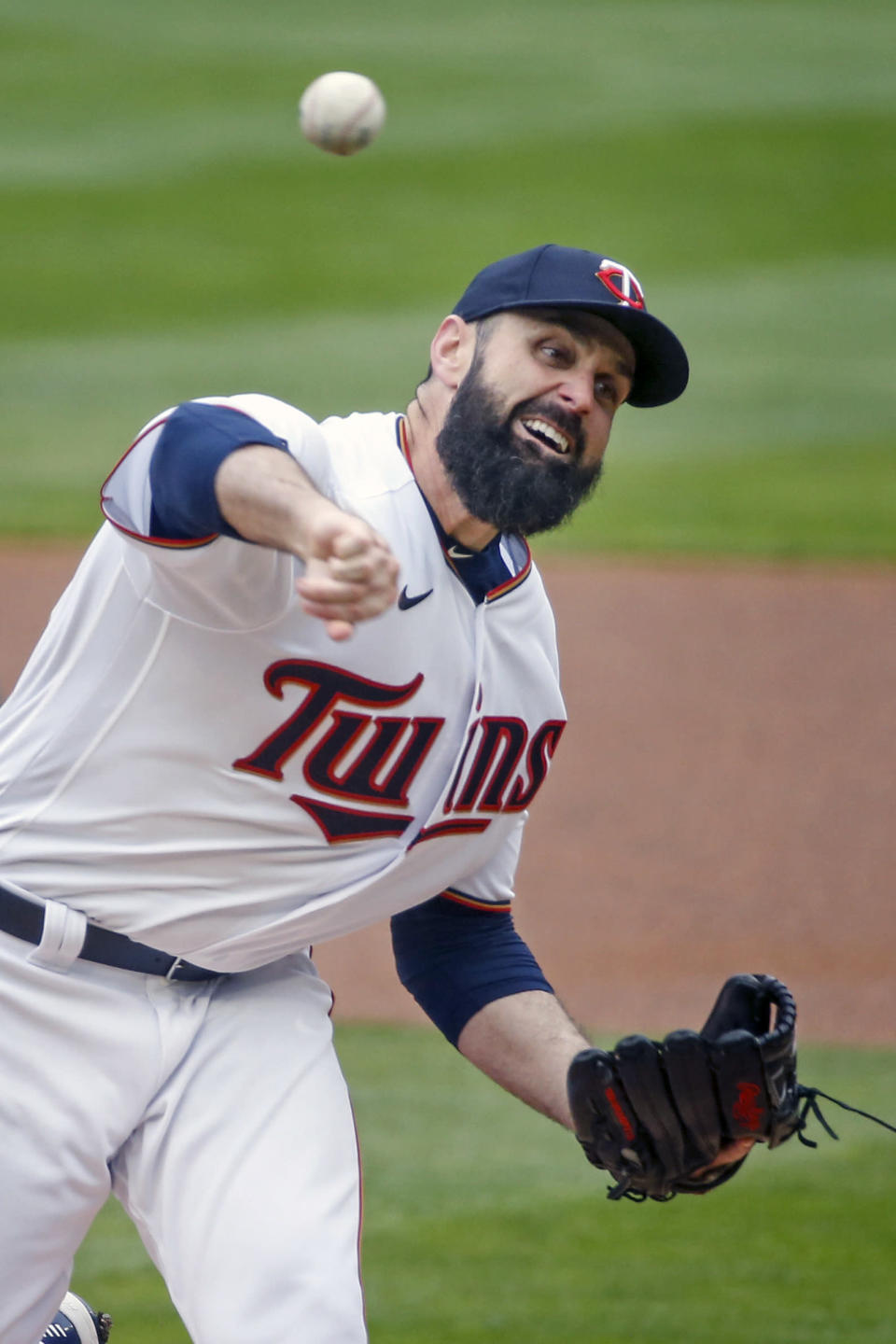 Minnesota Twins pitcher Matt Shoemaker throws to the Seattle Mariners in the first inning of a baseball game Sunday, April 11, 2021, in Minneapolis. (AP Photo/Bruce Kluckhohn)