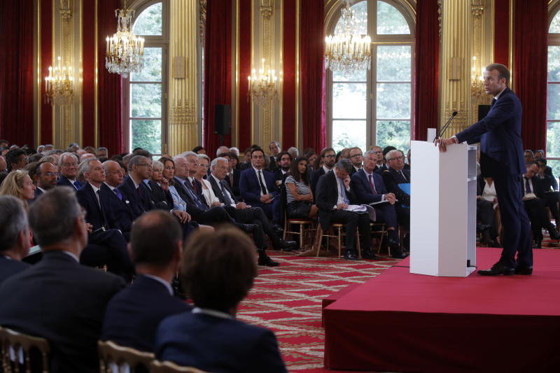 French President Emmanuel Macron delivers a speech during the annual French ambassadors' conference at the Elysee Palace in Paris, France, Monday, Aug. 27, 2018. (Philippe Wojazer/Pool Photo via AP)