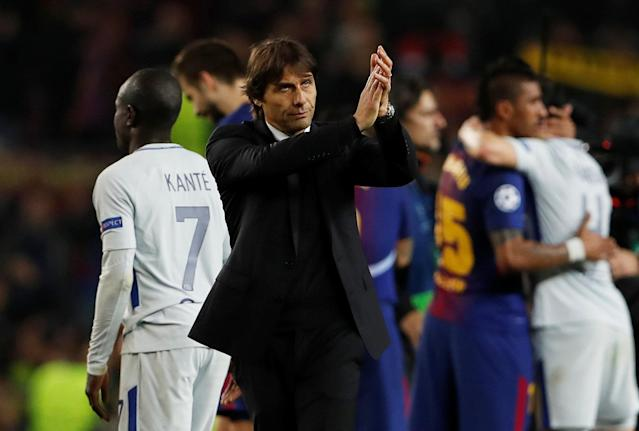 Soccer Football - Champions League Round of 16 Second Leg - FC Barcelona vs Chelsea - Camp Nou, Barcelona, Spain - March 14, 2018 Chelsea manager Antonio Conte looks dejected after the match Action Images via Reuters/Lee Smith