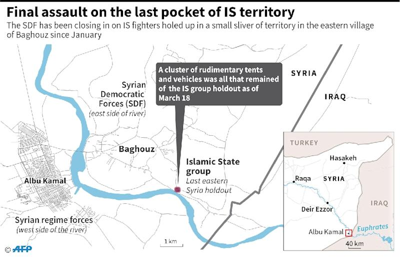 Updated map locating the last pocket of territory held by the Islamic State group in Syria. (AFP Photo/Laurence SAUBADU)