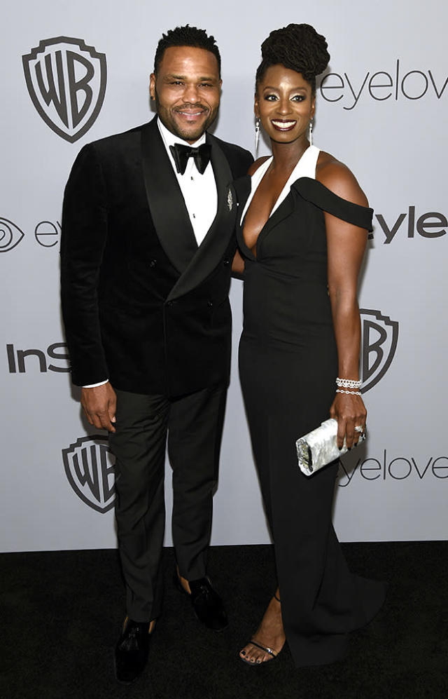 <p>Anthony Anderson and Alvina Stewart arrive at the InStyle and Warner Bros. Golden Globes party. (Photo: Chris Pizzello/Invision/AP) </p>