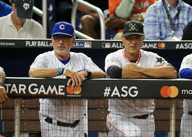 <p>Manager Joe Maddon #70 of the Chicago Cubs, left, and the National League and Coach Don Mattingly #8 of the Miami Marlins and the National League look on in the first inning during the 88th MLB All-Star Game against the American League All-Stars at Marlins Park on July 11, 2017 in Miami, Florida. (Photo by Mike Ehrmann/Getty Images) </p>
