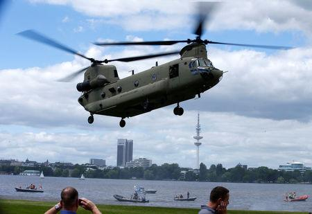 FILE PHOTO: U.S Army Chinook helicopter takes off during a joint training with the German police ahead of the upcoming G20 summit in Hamburg
