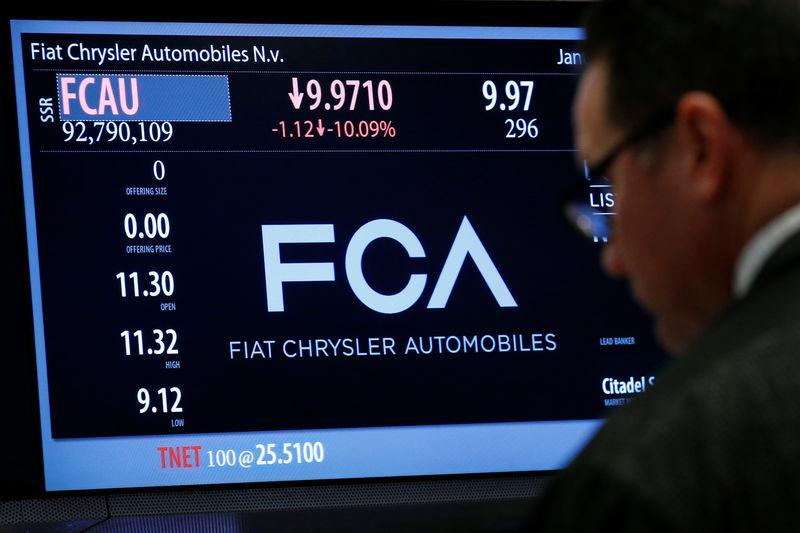 A screen displays the trading information for Fiat Chrysler Automobiles NV at the post where it's traded on the floorof the NYSE