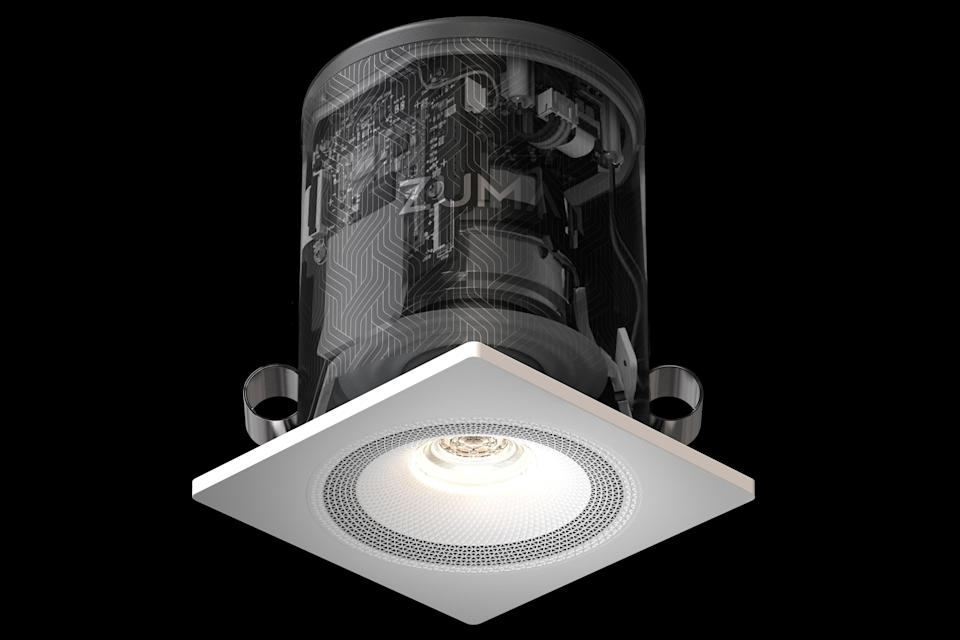 <p>The device, which costs £375, fits into a ceiling light socket, powered by the mains cable</p> (Zuma)