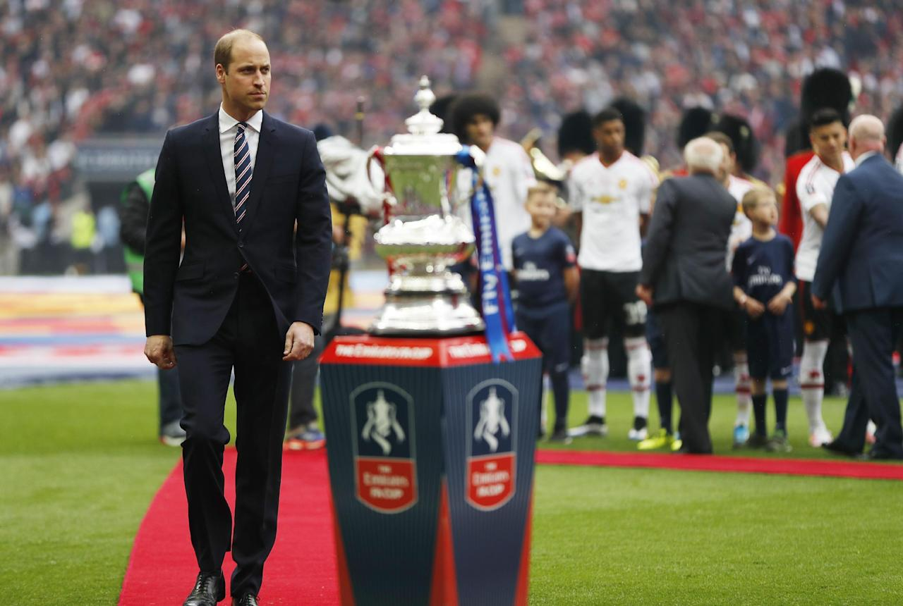 """Britain Football Soccer - Crystal Palace v Manchester United - FA Cup Final - Wembley Stadium - 21/5/16 Prince William with the FA Cup before the match Action Images via Reuters / John Sibley Livepic EDITORIAL USE ONLY. No use with unauthorized audio, video, data, fixture lists, club/league logos or """"live"""" services. Online in-match use limited to 45 images, no video emulation. No use in betting, games or single club/league/player publications.  Please contact your account representative for further details."""