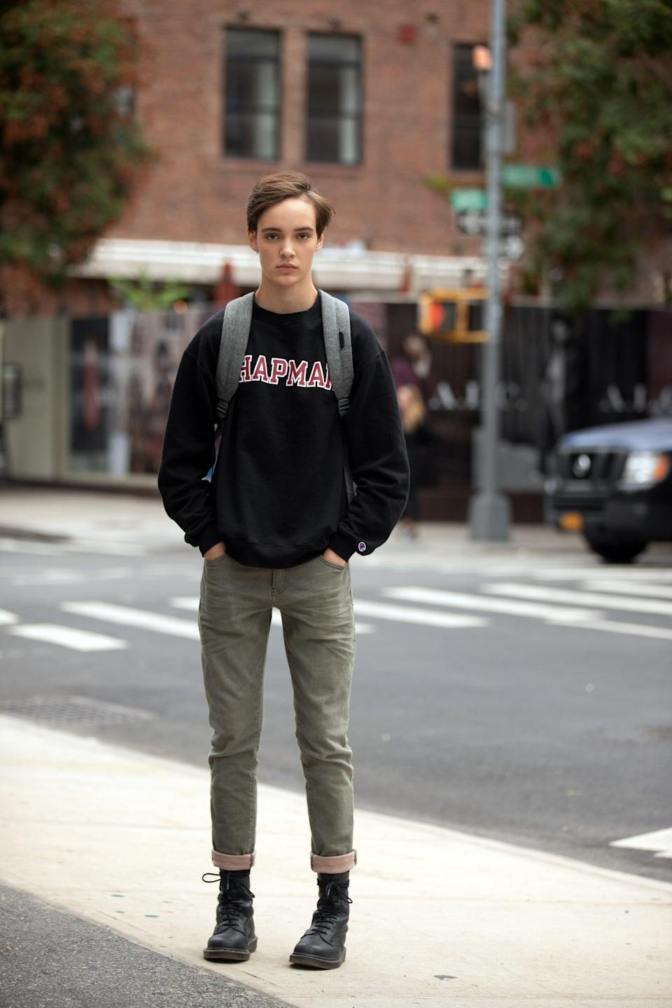 <p>Oslo, who identifies as non-binary transgender, hails from California and has walked the runway for Gucci, and they model for both menswear and womenswear.</p>
