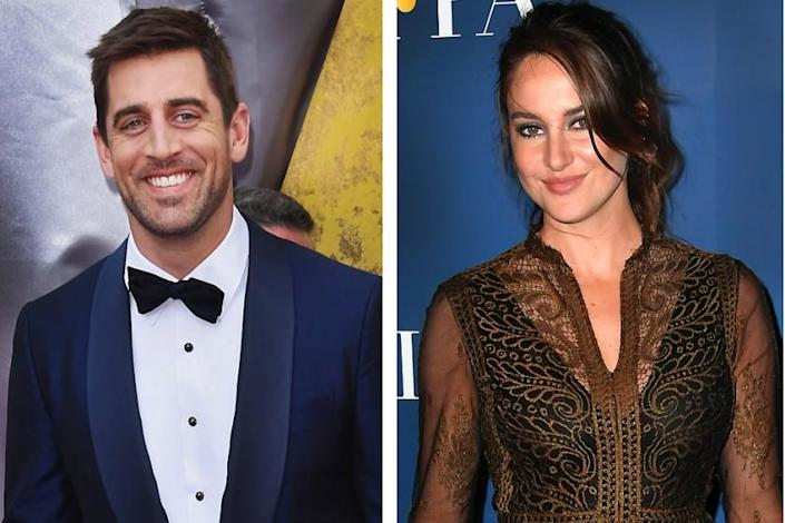 A split image of Aaron Rodgers and Shailene Woodley