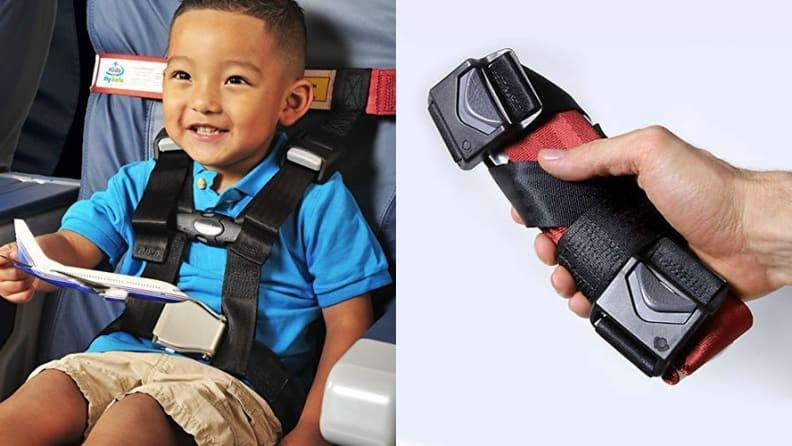 This harness keeps them safely strapped in during the flight and folds compactly to fit into any carry on bag.