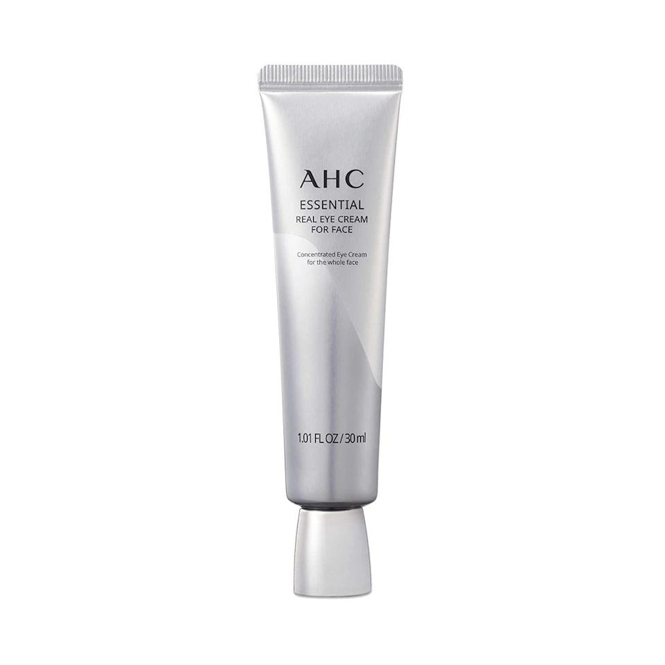 """<p><strong>AHC</strong></p><p>target.com</p><p><strong>$28.99</strong></p><p><a href=""""https://www.target.com/p/ahc-essential-eye-cream-1-01-fl-oz/-/A-76153603"""" rel=""""nofollow noopener"""" target=""""_blank"""" data-ylk=""""slk:Shop Now"""" class=""""link rapid-noclick-resp"""">Shop Now</a></p><p>Eye creams are rich, soothing, and ultra-hydrating. So AHC designed one you can use on your whole face. According to the brand, one tube of this vitamin-infused cream is sold every three seconds(!) in Korea. </p>"""