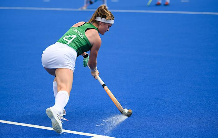 <p>Sarah Torrans of Ireland warms-up before the women's pool A group stage match between Ireland and Netherlands at the Oi Hockey Stadium during the 2020 Tokyo Summer Olympic Games in Tokyo, Japan. (Photo By Stephen McCarthy/Sportsfile via Getty Images)</p>