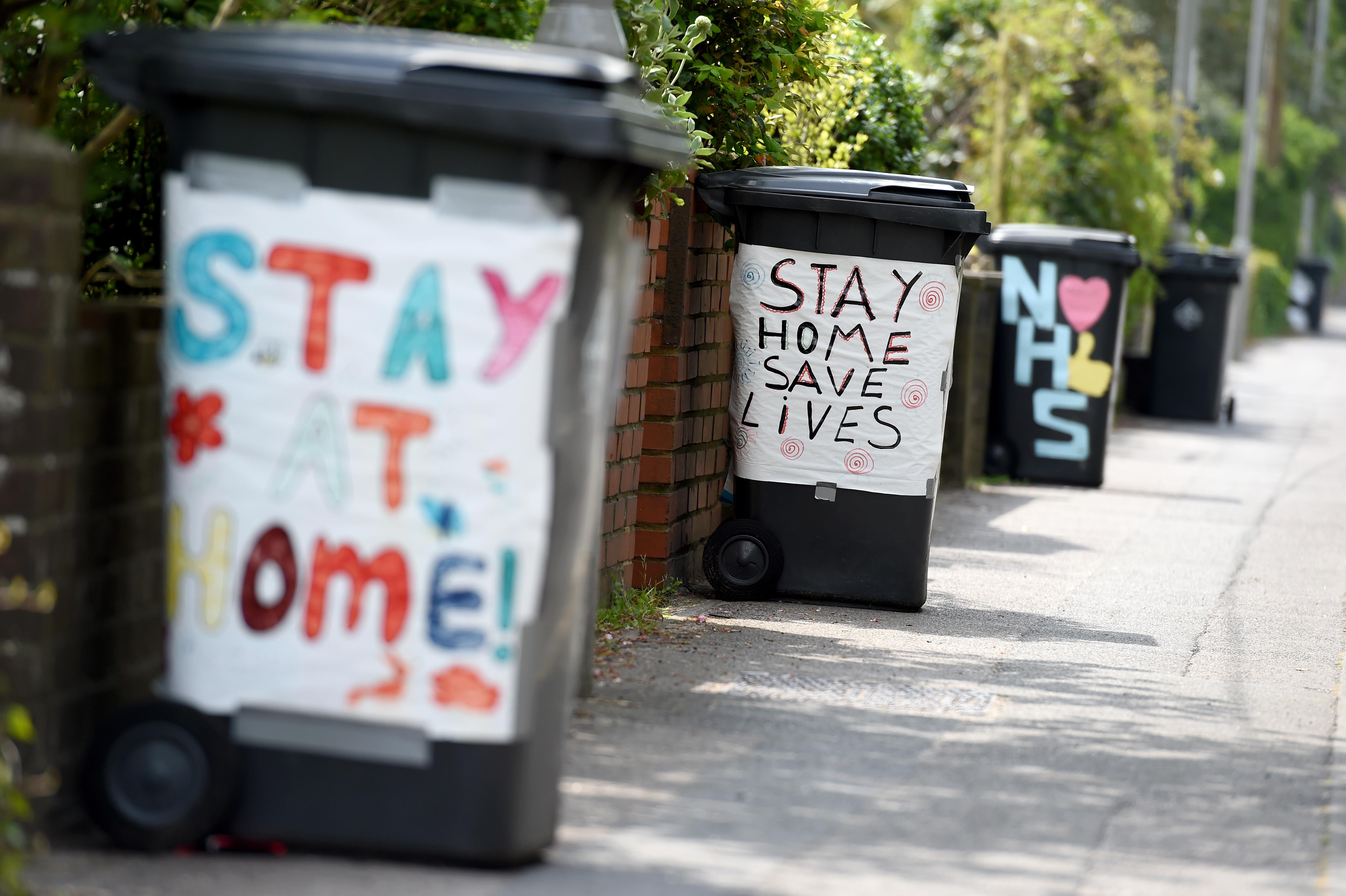 POOLE, ENGLAND - APRIL 27: Decorated rubbish bins are seen showing support for the NHS and staying at home on April 27, 2020 in Poole, United Kingdom. British Prime Minister Boris Johnson, who returned to Downing Street this week after recovering from Covid-19, said the country needed to continue its lockdown measures to avoid a second spike in infections. (Photo by Finnbarr Webster/Getty Images)