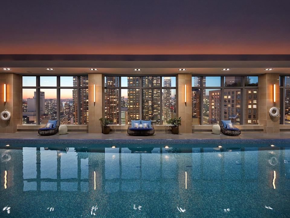 """<p><strong>Why book?</strong> A cornerstone of the city's five-star hotel scene, Mandarin Oriental's New York City outpost is known elite service, a fantastic spa, and impressive vistas—the 75-foot lap pool overlooks the Hudson, the high-end MO Lounge boasts the Manhattan skyline as its backdrop, and the best rooms have bird's eye views of Central Park.</p> <p><br> <strong>Set the scene</strong> Columbus Circle, right off the lower west corner of Central Park, already draws an upscale crowd—enter the Shops at Columbus Circle to find designer shopping and restaurants like Thomas Keller's <a href=""""https://www.cntraveler.com/restaurants/new-york/per-se?mbid=synd_yahoo_rss"""" rel=""""nofollow noopener"""" target=""""_blank"""" data-ylk=""""slk:Per Se"""" class=""""link rapid-noclick-resp"""">Per Se</a>, or enter on the right side of the building, where Mandarin Oriental has one tower for private apartments, and another for the nearly 250 guest rooms and suites that make up the hotel. You'll spot well-to-do New Yorkers shuffling into the residences and hotel bar each evening, as well as buttoned-up business people and couples. Nobody is walking through the lobby in their travel-day comfies here.</p> <p><strong>The backstory</strong> The Hong Kong-based Mandarin Oriental brand operates dozens of high-rise hotels, in cities that typically draw both C-suite execs on business and five-star-seeking leisure travelers: think London, Abu Dhabi, Singapore, and, of course, Hong Kong. The New York City property has been around since 2003, and reopened following a COVID closure in March, with the brand new MO Lounge in the lobby. (By late spring, reservations were already essential for a coveted seat in the cocktail bar.)</p> <p><br> <strong>The rooms</strong> Even in the most affordable room on offer—the Hudson River View Rooms, which currently start at $745—you're getting lavish views that few New Yorkers lay claim to. The perspectives—and prices—just go up from there, with rooms categorized by vantage poi"""