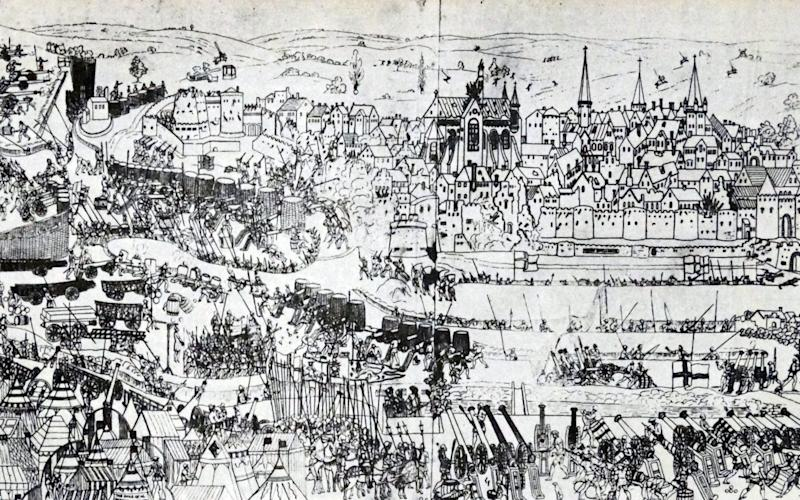 The siege of Boulogne, 1544. The engraving, by James Basire, shows the battleground, including the English camps of Henry VIII, Lord Admiral Lisle and Sir Anthony Browne during an invasion of France - Credit: World History Archive/Alamy Stock Photo
