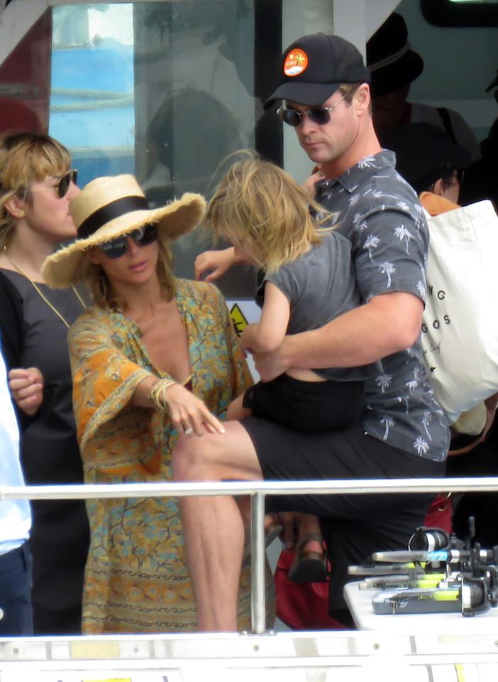 <p>Chris and his wife Elsa Pataky enjoyed some fun at sea with Matt and his wife Luciana Barroso last Thursday. Source: Getty </p>