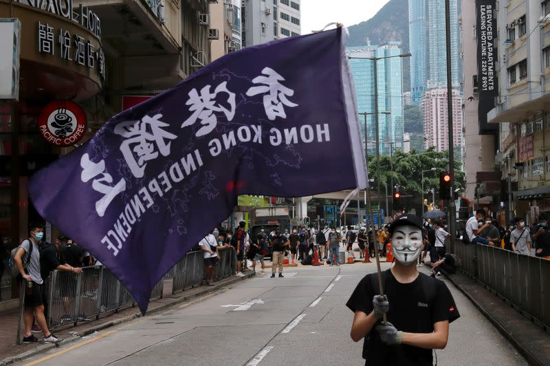 FILE PHOTO: Anti-government protester holds a flag supporting Hong Kong independence