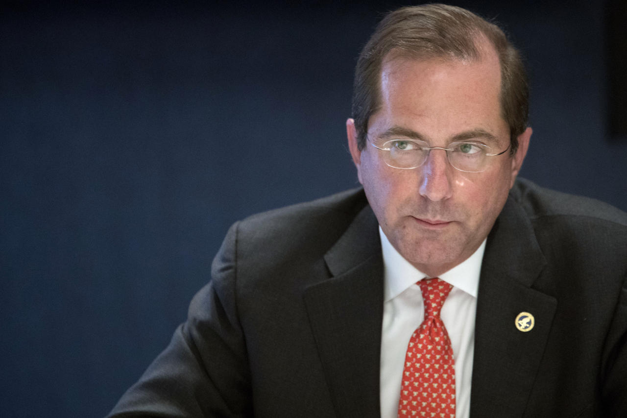 In this Wednesday, Sept. 12, 2018, photo Health & Human Services Secretary Alex Azar speaks during an interview with The Associated Pressin New York. Azar the administration's point person for efforts to lower drug prices, conceded in a recent AP interview that it will be a while before drug prices fall. (AP Photo/Mary Altaffer)