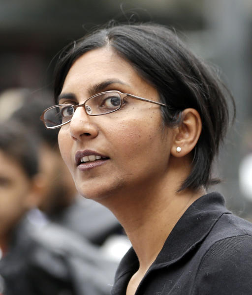 In this Aug. 1, 2013 photo, Seattle City Council candidate Kshama Sawant, a Socialist, attends a demonstration for minimum wage workers in Seattle. Even in left-leaning Seattle, the fact that 41-year-old Sawant has taken the lead in a City Council race has surprised many people. Following the latest ballot count Tuesday, Nov. 12, 2013, Sawant had a 41-vote lead over incumbent Richard Conlin. Given Washington state's mail-in voting system, a definitive winner won't be named for days or even weeks. (AP Photo/Elaine Thompson)