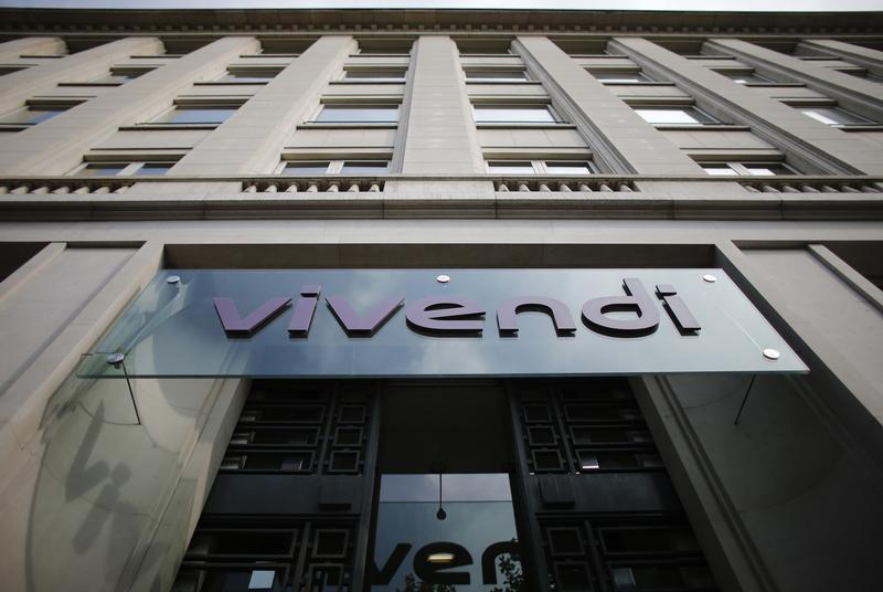 A logo of entertainment-to-telecoms conglomerate Vivendi is seen on the main entrance of the company's headquarters in Paris