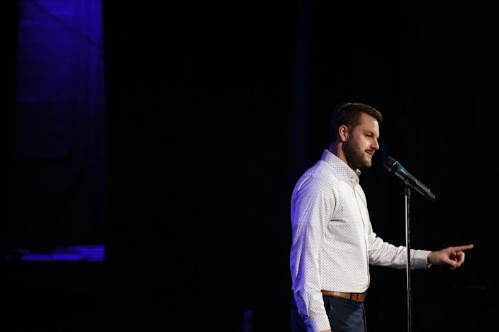 Ryan Moon tells his story during the Des Moines Register Storytellers Project at Hoyt Sherman Place on Tuesday, Feb. 12, 2019, in Des Moines.