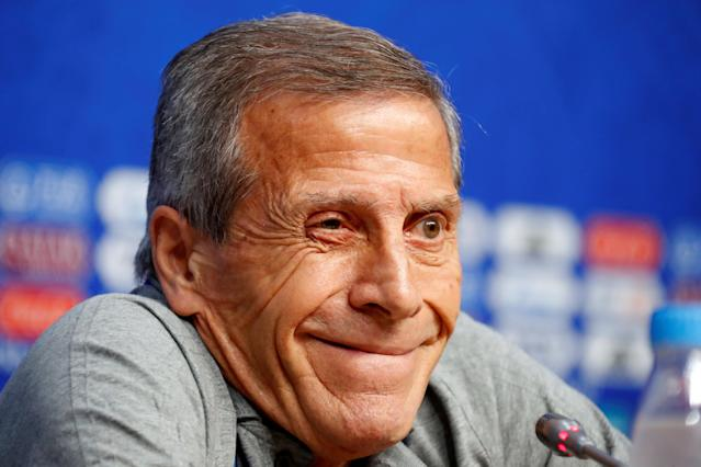 Soccer Football - World Cup - Uruguay Press Conference - Samara Arena, Samara, Russia - June 24, 2018 Uruguay coach Oscar Tabarez during the press conference REUTERS/David Gray
