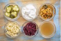 """<p>A diet rich in fermented foods supplies good bacteria for maintaining a healthy gut. This is especially important as we age, when our microbiome tends to lose diversity and variety of bacteria. </p><p>""""A more diverse microbiome is associated with anti-obesity effects and appears to protect against infection and autoimmune disease—it's one of the mechanisms believed to contribute to declining health with age,"""" says Dixon. </p><p>Load up on kefir, sauerkraut, kimchi, <a href=""""https://www.prevention.com/food-nutrition/healthy-eating/a20890627/kombucha-benefits/"""" rel=""""nofollow noopener"""" target=""""_blank"""" data-ylk=""""slk:kombucha"""" class=""""link rapid-noclick-resp"""">kombucha</a>, and other <a href=""""https://www.prevention.com/food-nutrition/healthy-eating/g23310235/probiotic-foods-for-gut-health/"""" rel=""""nofollow noopener"""" target=""""_blank"""" data-ylk=""""slk:probiotic foods"""" class=""""link rapid-noclick-resp"""">probiotic foods</a> to keep your digestion in check. Ideally, you want to have at least one serving of fermented foods daily.</p>"""
