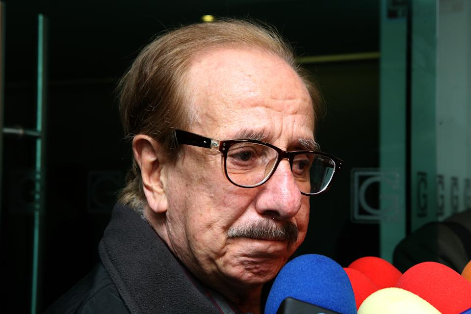 MEXICO CITY, MEXICO - JUNE 28: Benito Castro speaks to the media during the funeral of singer, actor and television presenter Gualberto Castro  on June 28, 2019 in Mexico City, Mexico. Gualberto Castro, best known for singing with Los Hermanos Castro, passed away due to bladder cancer on June 27th. He was 84 years old.  (Photo by Medios y Media/Getty Images)